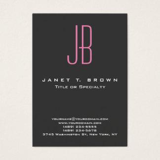 Monograma rosado gris moderno profesional tarjetas de visita grandes