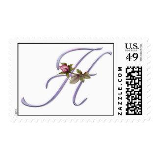 Monograma rosado H de los rosas Timbres Postales
