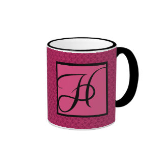 Monograma rosado H del damasco Taza A Dos Colores