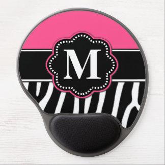 Monograma rosado Mousepad del estampado de zebra Alfombrillas De Raton Con Gel