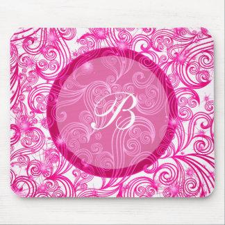 Monograma rosado Mousepads Alfombrillas De Ratones