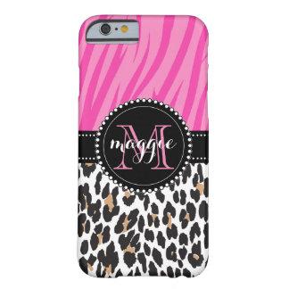 Monograma rosado negro del personalizado del funda barely there iPhone 6