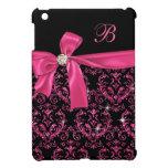 Monograma rosado negro elegante del arco del diama iPad mini protectores