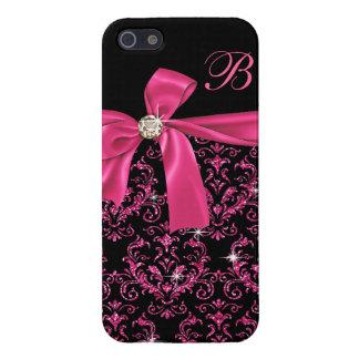Monograma rosado negro elegante del arco del diama iPhone 5 fundas