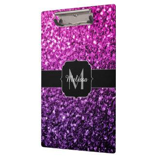 Monograma rosado púrpura de las chispas del brillo