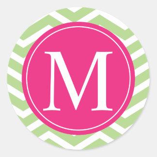 Monograma rosado verde de Chevron Pegatina