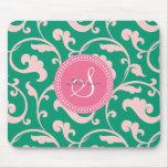 Monograma rosado verde femenino elegante del alfombrillas de raton