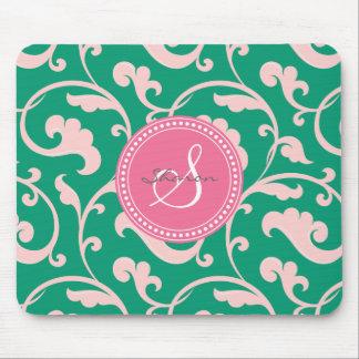 Monograma rosado verde femenino elegante del estam alfombrillas de raton
