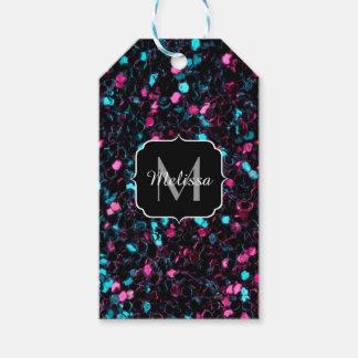 Monograma rosado y azul colorido brillante del etiquetas para regalos