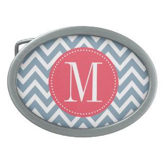 Monograma rosado y azul del personalizado de Chevr Hebillas De Cinturon Ovales
