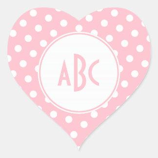 Monograma rosado y blanco de la letra tres de los pegatina en forma de corazón