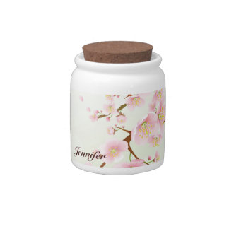 Monograma rosado y blanco de la naturaleza de la f jarras para caramelos
