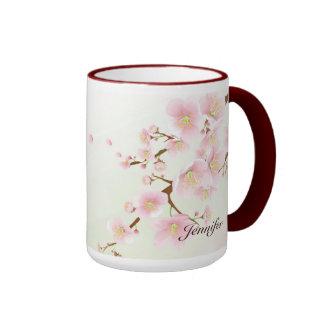 Monograma rosado y blanco de la naturaleza de la f tazas