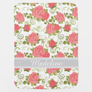 Monograma rosado y blanco de los rosas del vintage mantas de bebé