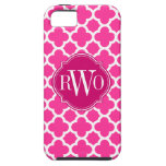Monograma rosado y blanco de Quatrefoil del modelo iPhone 5 Case-Mate Fundas