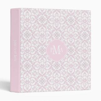 Monograma rosado y blanco del modelo del damasco