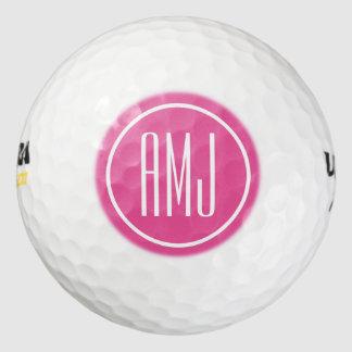 Monograma rosado y blanco del personalizar pack de pelotas de golf