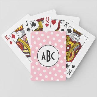 Monograma rosado y blanco negro de los lunares barajas de cartas