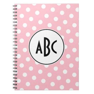 Monograma rosado y blanco negro de los lunares spiral notebooks
