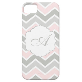 Monograma rosado y gris de Chevron del zigzag iPhone 5 Carcasa