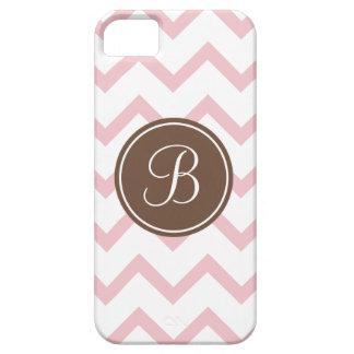 Monograma rosado y marrón iPhone 5 fundas