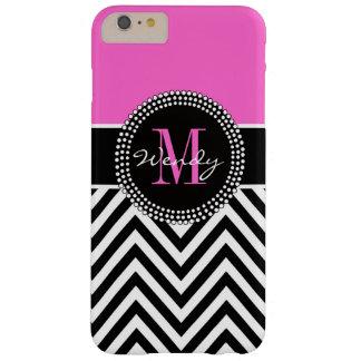 Monograma rosado y negro de Chevron elegante Funda Barely There iPhone 6 Plus