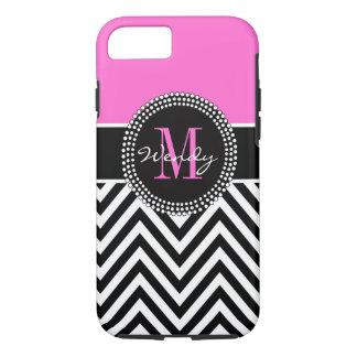Monograma rosado y negro de Chevron elegante Funda iPhone 7