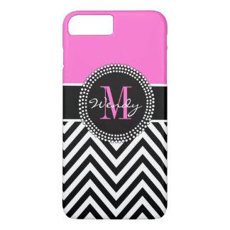 Monograma rosado y negro de Chevron elegante Funda iPhone 7 Plus