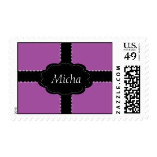 Monograma rosado y negro de color de malva cosido sello