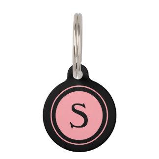 Monograma rosado y negro de la etiqueta de la placas para mascotas