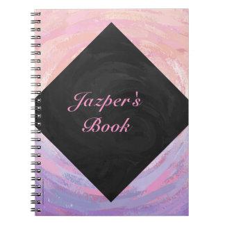 Monograma rosado y negro libreta