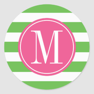 Monograma rosado y verde del personalizado de las pegatina redonda