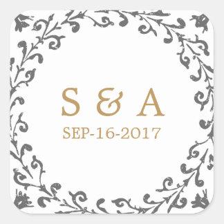 Monograma rústico clásico elegante del boda del pegatina cuadrada