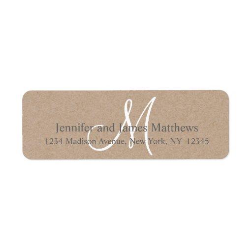 Monograma rústico de Kraft para los bodas Etiquetas De Remite