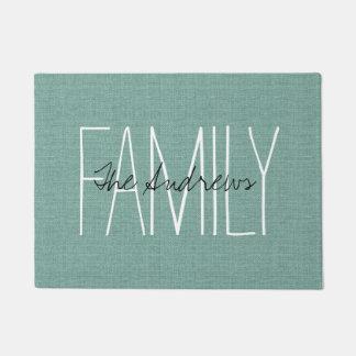 Monograma rústico de la familia de la aguamarina felpudo