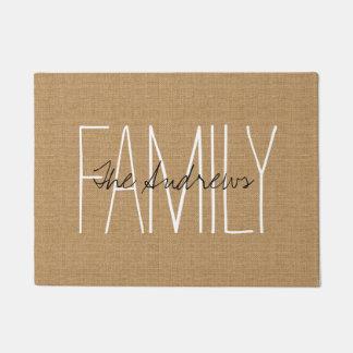 Monograma rústico de la familia del moreno felpudo
