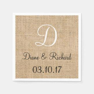 Monograma rústico de la fecha del nombre de la servilleta de papel
