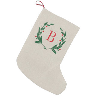 Monograma rústico de la guirnalda del laurel del calcetín de navidad pequeño