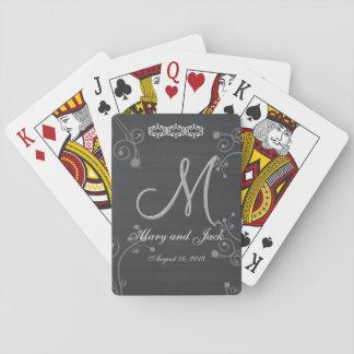 Monograma rústico de la pizarra 3d cartas de póquer