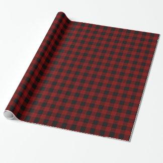 Monograma rústico de la tela escocesa del búfalo papel de regalo