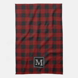 Monograma rústico de la tela escocesa del búfalo toalla de cocina