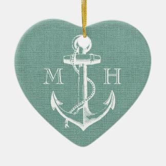 Monograma rústico del boda del ancla del vintage adorno de cerámica en forma de corazón