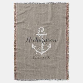 Monograma rústico del boda del ancla del vintage manta