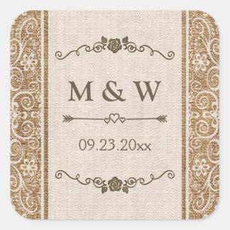 Monograma rústico del boda del cordón de la arpill