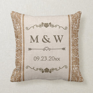 Monograma rústico del boda del cordón de la cojín decorativo