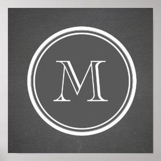 Monograma rústico del fondo de la pizarra impresiones