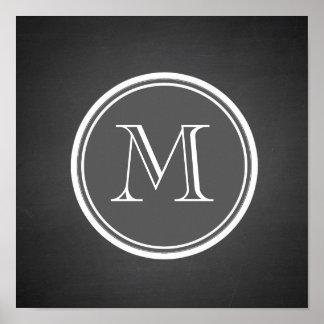 Monograma rústico del fondo de la pizarra posters