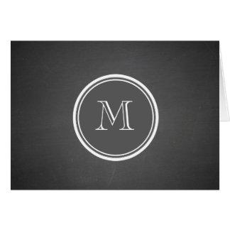 Monograma rústico del fondo de la pizarra tarjeta