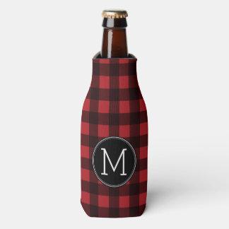 Monograma rústico del modelo de la tela escocesa enfriador de botellas