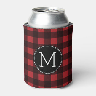 Monograma rústico del modelo de la tela escocesa enfriador de latas